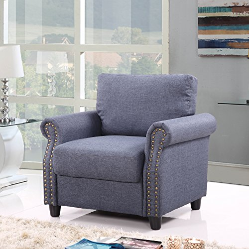 Divano Roma Furniture Classic Living Room Linen Armchair