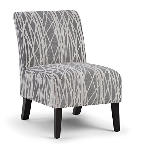 Simpli Home Woodford Accent Chair Grey White