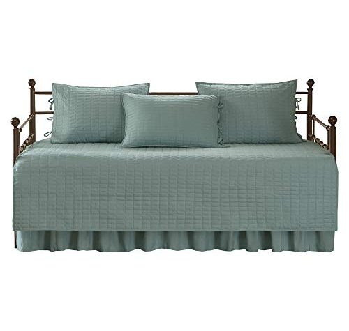 Comfort Spaces Twin Daybed Bedding Sets Kienna 5 Pieces All Season Daybed Cover Quilt Set Soft Microfiber Solid Blue Teal Stitched Quilt