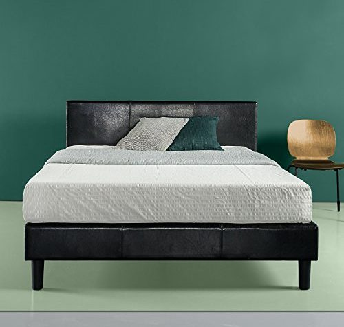 Zinus Faux Leather Upholstered Platform Bed With Wooden