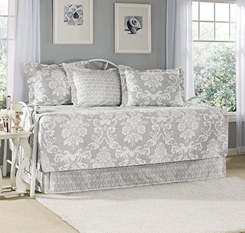 Laura Ashley Venetia 5 Piece Daybed Cover Set Twin Gray